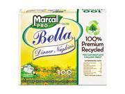 100% Premium Recycled Bella SnapPac Dinner Napkins, 15 x 17, White, 3000/Carton
