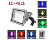 10-Pack 30W Waterproof Outdoor Security LED Flood Light Spotlight High Powered RGB Color Change with Plug and Remote Control AC85V-265V