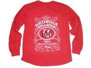 University Of Georgia Bulldogs Southern Pride Oversized Long Sleeve T-shirt-large