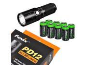 Fenix PD12 360 Lumen CREE XM-L2 T6 LED high-output EDC Flashlight with Eight pack EdisonBright CR123A Lithium Batteries