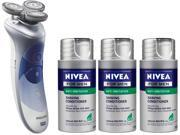 Norelco HS8420 Mens Rotary Arcitec Shaver + 3 HS800 Nivea for Men Conditioners Gift Set