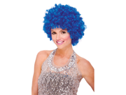 Womens Blue Curly Afro Disco Clown Costume Wig