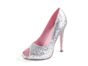 "Sexy Silver Glitter Open Toe Pump 5"" Heel Princess Costume Shoes"