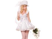 Sexy Womens Burlesque Bride Wedding Dress Halloween Costume