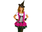 Girls Cute Pink Witch Outfit Kids Halloween Costume