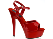 """Sexy Red Ankle Strap High Heel 6"""" Platform Shoes"""