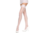 Womens White Lace Top Thigh Highs High Stockings