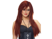 Punk Rock Long Straight Red Goth Cosplay Costume Wig
