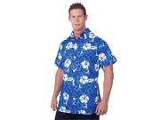 Mens Luau Halloween Costume Blue Floral Hawaiian Shirt