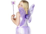 Kids Fairy Pixie Costume Purple Butterfly Wings & Wand Child