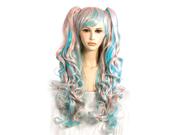Long Pink Blue Bangs Anime Cosplay Wavy Pigtail Club Wig