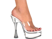 "Sexy Clear High Heels Cone Heel 6"" Platforms Shoes"