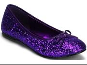 New Purple Glitter Glam Rock Flat Costume Shoes