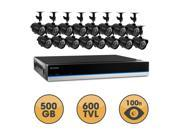 Defender Blueline 16CH Security DVR with 500GB of storage, 600TVL Cameras with 75ft Long-Range Night Vision