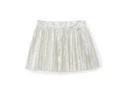 Aeropostale Womens Cotton Metallic Side-zip Pleated Skirt 044 3/4