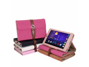 Hot Pink Wallet Stand Book Case Cover with Auto Wake Sleep Function Hand Clutch Strap and Card Holder for Google Nexus 7