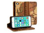 iPod touch 5 Case, GMYLE Book Case Vintage for iPod touch 5 -  World Map Pattern