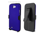 Blue 3 in 1 Combo Set Protex Rubberized Feel 2 Piece Snap On Case for Samsung Galaxy Note 2 II N7100 with Holster and Screen Protector Film
