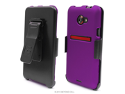 HTC EVO 4G LTE PJ75100 3 In 1 Combo Set Protex Purple Case and Holster Beltclip + Screen Protector