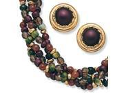 PalmBeach Jewelry 2 Piece Multi-Colored Beaded Jewelry Necklace and Earrings Set in Yellow Gold Tone