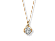 PalmBeach Jewelry Diamond Accented Cluster Pendant Necklace in 18k Gold over Sterling Silver