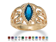 PalmBeach Jewelry Marquise-Cut Birthstone 14k Yellow Gold-Plated Filigree Ring- September