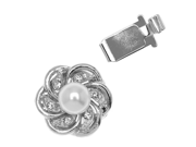 Rhodium Plated Box Clasp - Flower With White Pearl 14mm