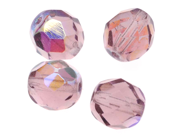 Czech Fire Polish Glass Beads 8mm Round 'Lt Amethyst AB' (25)