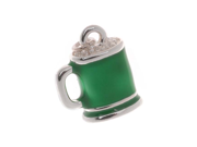 Silver Plated Charm St Patrick Day Green Beer 15mm (1)