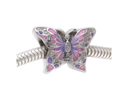 Silver Tone 2-Sided Pink / Purple Butterfly Large Hole Bead -Fits European Style