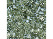 Miyuki 4mm Cube Beads Metal Lt Sage Lined Crystal 10 Gr