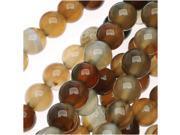 Brown Agate Gemstone Mix 4mm Round Beads  (14.5 Inch Strand)