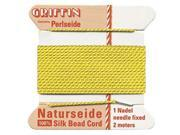 Griffin Silk Beading Cord & Needle Sz 2 Bright Yellow