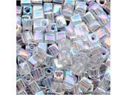 "Miyuki 4mm Cube Beads ""Crystal Clear AB"" #250 10 Gr"