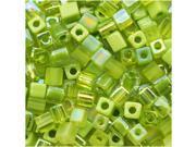 Miyuki 4mm Cube Bead Mix Green Peridot Medley 10Gr
