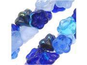 """Czech Glass Flower Drops """"Blue Tones"""" Mix 7mm/100 Beads"""