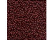 Toho Round Seed Beads 15/0 #46F 'Opaque Frosted Oxblood' 8g