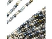 Czech Seed Beads Mix Lot 11/0 Heavy Metals Grey/Blue/Metallics - 1/2 Hank