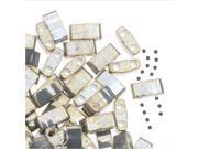 Miyuki Half Tila 2 Hole Rectangle Beads 5x2.3mm - Galvanized Gray Luster 7.8 Grams