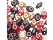 SuperDuo, Czech Glass 2-Hole Seed Beads 5.5x3mm, 24g Tube, Chocolate Cherries