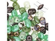 SuperDuo, Czech Glass 2-Hole Seed Beads 5.5x3mm, 24 Gram Tube, Chocolate Mint