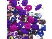 SuperDuo, Czech Glass 2-Hole Seed Beads 5.5x3mm, 24 Gram Tube, Night Magic