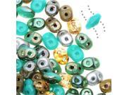 SuperDuo, Czech Glass 2-Hole Seed Beads 5.5x3mm, 24 Gram Tube, African Turquoise