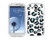 Hard Plastic Diamante Black/Blue Leopard Pearl Phone Protector for Samsung Galaxy S III