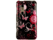 Hard Polycarbonate Reinforced Plastic Snap-on Two-Piece Phone Protector Case Cover Shell with Cool Stylish Pink Butterfly Image Design for LG Thrill