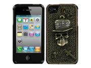 3D Bronze Diamond Cowboy Skull Plastic Phone Cover for Apple iPhone 4 / iPhone 4S