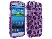 Purple Leopard Plastic Phone Protector Full Diamond Cover for Samsung Galaxy S III All Carriers