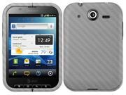 Skinomi Carbon Fiber Silver Skin Cover+Clear Screen Protector for Pantech Pocket
