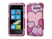 Hard Plastic Diamante Cloudy Hearts Phone Protector for HTC Arrive