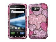 Hard Plastic Diamante Cloudy Hearts Phone Protector for Motorola ATRIX 2 MB865